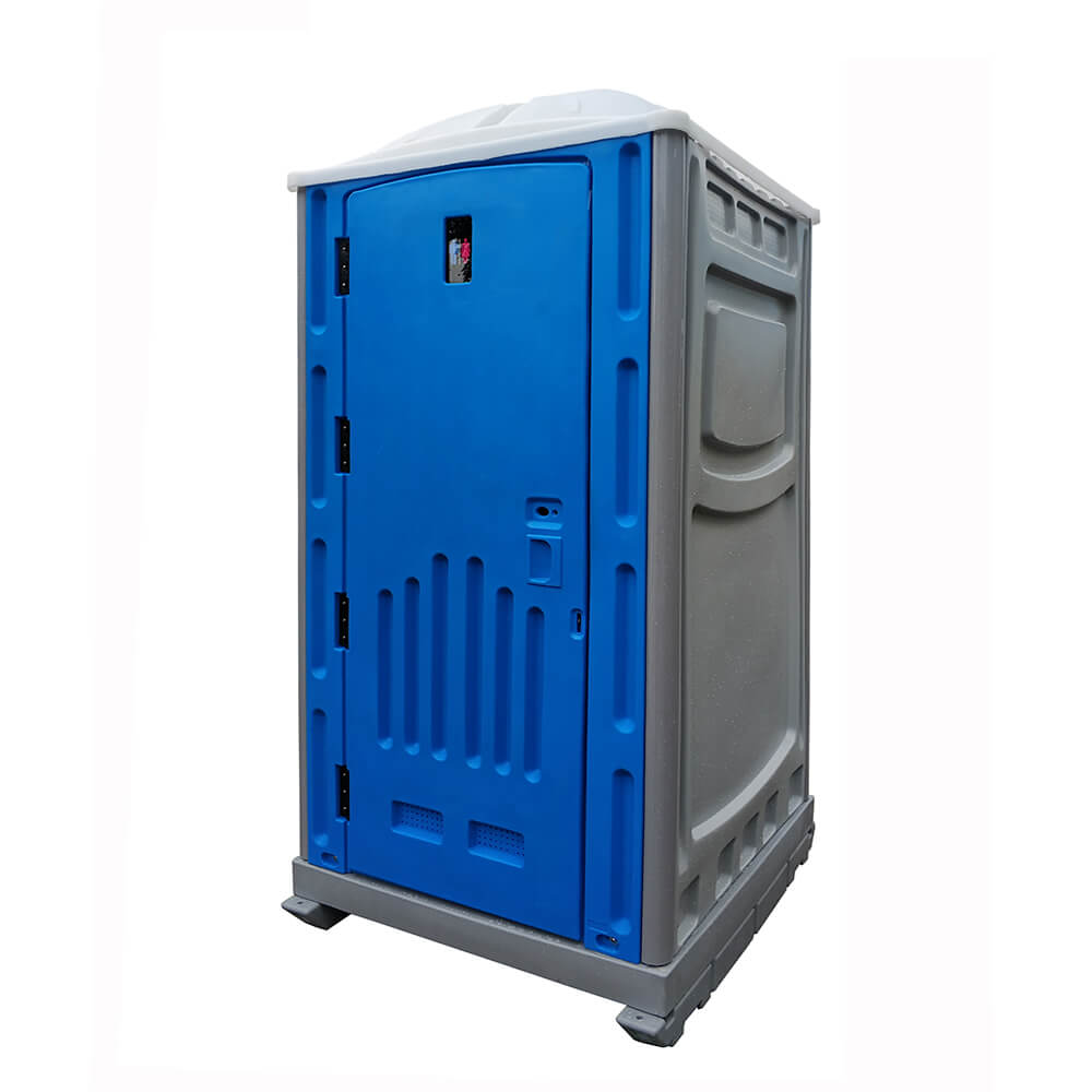 blue and grey plastic portable toilet
