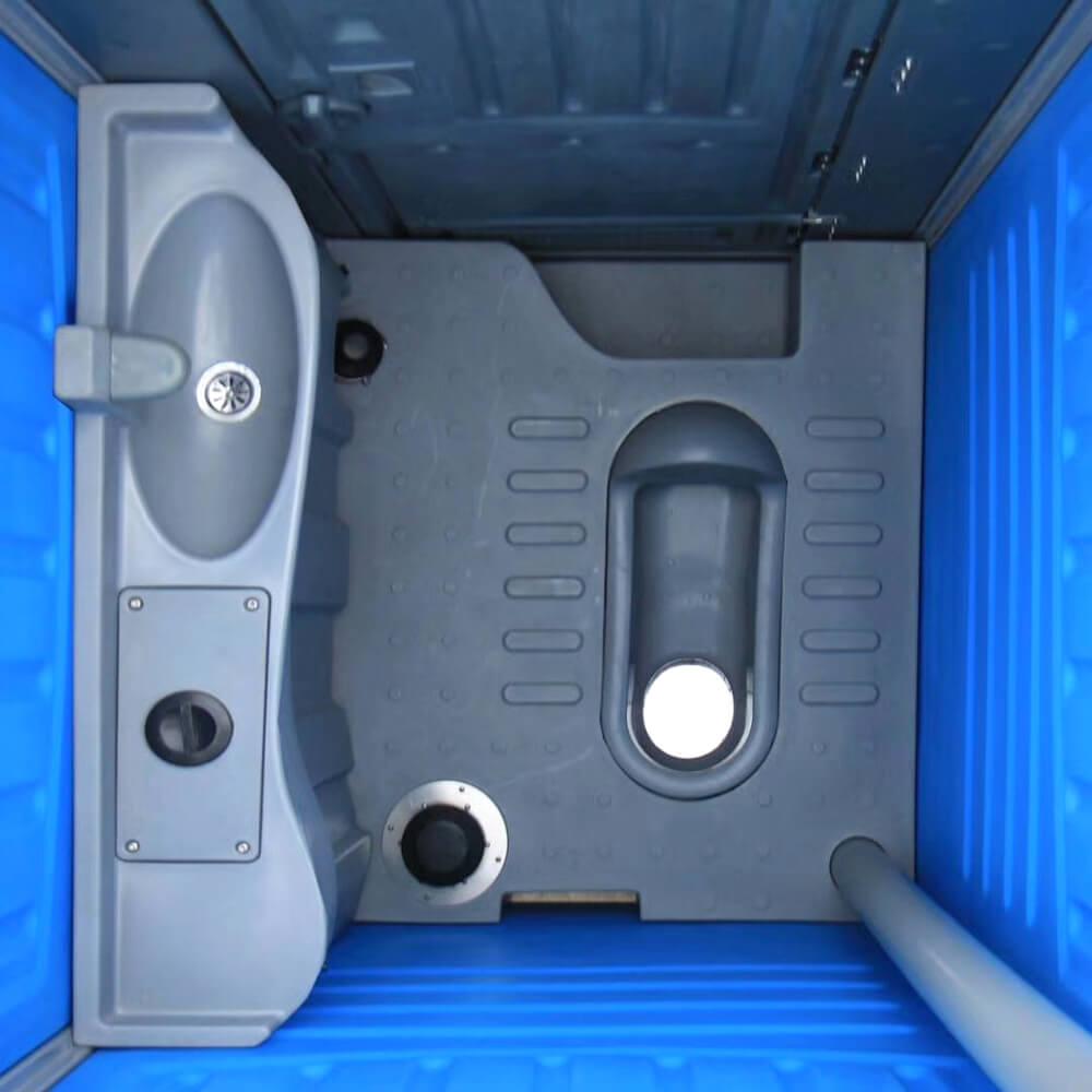 Top view of squatting plastic prtable toilet