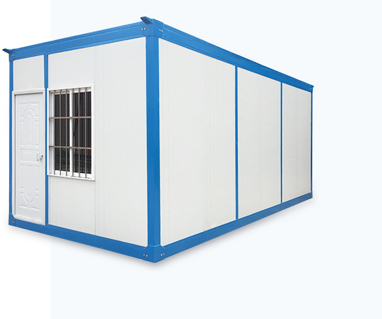 white detachable container house with windows and doors