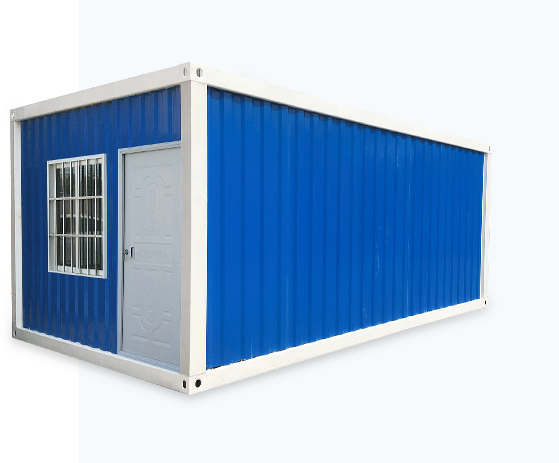 blue detachable shipping house with windows and doors