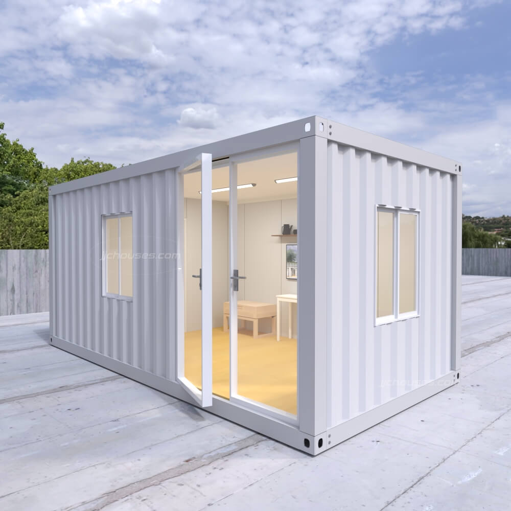 shipping container with glass door
