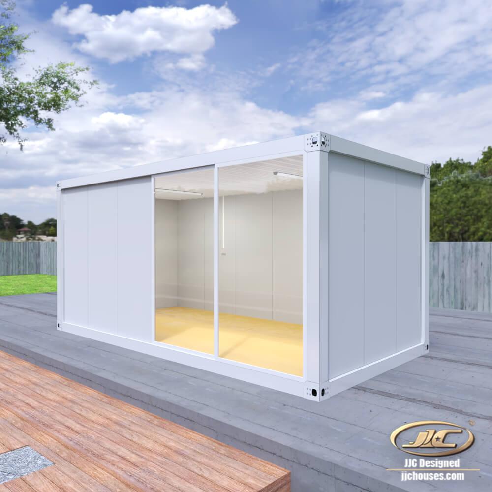 container with glass door