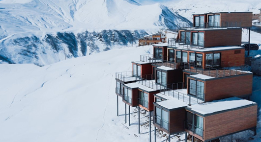 shipping container ski and yoga resort