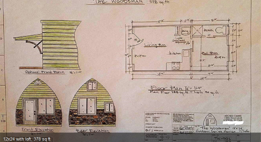 Arched Cabins small prefab floorplan