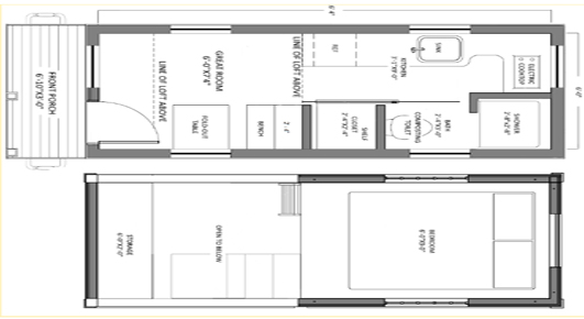 Roving small prefab house floorplan