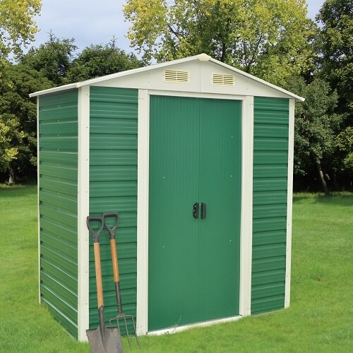 A garden shed in green