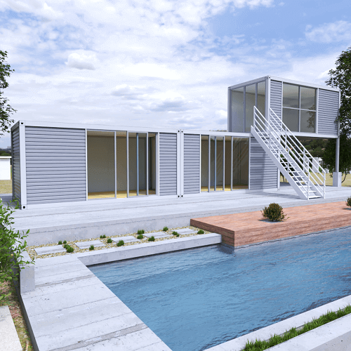 Modular pool house in front of a pool