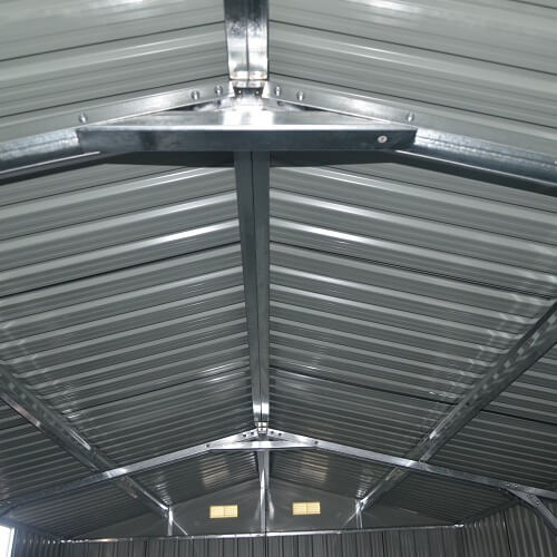 The ceiling of a container garage