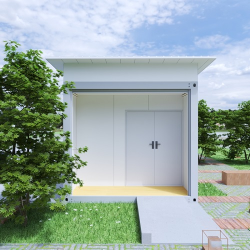 The front view of a portable granny house in white