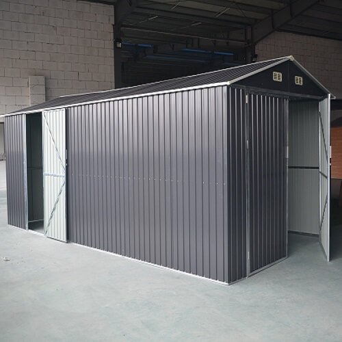 container garage in grey in a factory